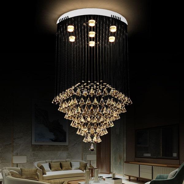 żyrandol kryształowy w stylu glamour do salonu
